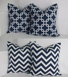 Four Navy Pillow Covers  Navy Blue Gotcha and Navy by skoopehome, $70.00