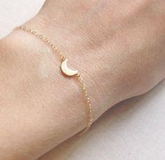 Halbmond-Armband   Gold Moon Armband   Zierliche Moon Armband