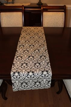"""Black & Cream Damask Table Runner Reversible Lined Preppy - 12""""x72"""" by MagnoliaMommyMade"""