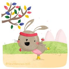 Bunny on rolling skates © Gina Maldonado 2015 cocogigidesign.com #bunny #cute #illustration #rollerskating