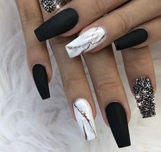 ✨ Matte Black, White Marble and Crystal Glitter on Coffin Nails ✨ .,✨ Matte Black, White Marble and Crystal Glitter on Coffin Nails ✨ Marble Acrylic Nails, Acrylic Nails Coffin Short, Summer Acrylic Nails, Best Acrylic Nails, Black Marble Nails, Marbled Nails, Black And White Nail Art, Summer Nails, White Art
