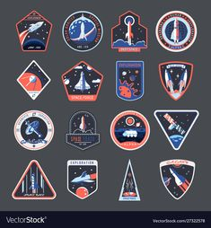 Space patches, galaxy exploration and astronaut mission vector badges and spaceship emblems. Vintage t shirt print design, space forces rocket, mars and moon expedition shuttle ,