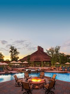 Sunset is a great time to enjoy the poolside fire pit and the rustic beauty at the Gateway Canyons Resort & Spa in southwest Colorado. Diy Fire Pit, Fire Pit Backyard, Fire Pits, Above Ground Pool, In Ground Pools, Outdoor Spaces, Outdoor Living, Outdoor Decor, Lodge At Vail