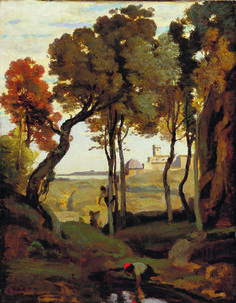 """Camille Corot: """"Souvenir of Italy"""", 1826/27, oil on canvas, 36.3 x 28.3 cm Classification:painting, Museum of Fine Arts Budapest."""