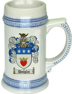 Douglas Coat of Arms / Family Crest stein mug |  $21.99 at www.4crests.com - This stein starts with the family coat of arms hand drawn digitally. We then use a high quality 22 oz. ceramic stein to apply the coat of arms to via sublimation.