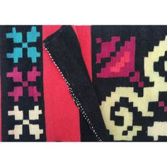 Vintage Southwestern Mexican Navajo Greek Hand Woven Wool Saltillo... ($175) ❤ liked on Polyvore featuring home and rugs