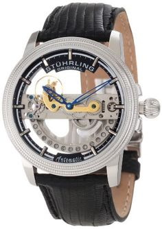 Stuhrling Original Men's 213A.331X13 Symphony Classic Limited Edition Saturnalia Bridge Automatic Skeleton Silver Tone Watch Stuhrling Original. $189.00. Black genuine lizard strap with stainless steel dual deployant clasp. Protective krysterna crystal on front and back. Bridge style complete automatic movement with genuine diamonds on rotor; limited edition. Water-resistant to 50 M (165 feet). Polished stainless steel case with double milled step design bezel and oni...
