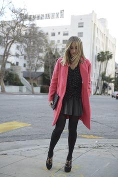 Blackened Pink----Elizabeth and James Coat c/o, Urban Outfitters Blouse, Zara Skirt, H&M Tights, Prada Heels, Topshop Clutch