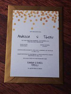 invitatie nunta gold, papergoodsart.ro