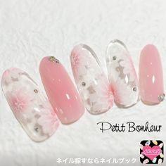 ネイル 画像 Petit Bonheur(プティ・ボヌール) 通谷 1482385 ピンク 白 グラデーション フラワー オフィス デート パーティー ブライダル ソフトジェル ハンド ロング
