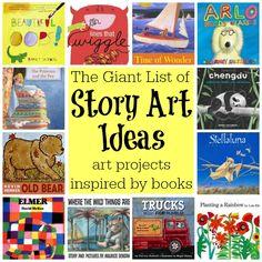 The Giant List of Story Art Ideas: Art Projects Inspired by Children's Books (from Walking by the Way) (summer art ideas) Art Books For Kids, Childrens Books, Art For Kids, Kid Books, Story Books, Kindergarten Art, Preschool Art, Classe D'art, Art Story