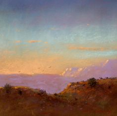 Riders at Sunset Pastel 12in x 12in New Mexico Landscape Art Painting by Tom Perkinson