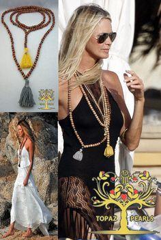 Set of 2 healing prayer wood beads mala turquoise hematatie crystal meditation yoga jewelery bracelet buddha tassel Elle Macpherson
