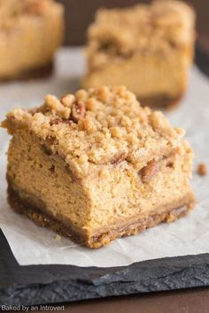These Pumpkin Crumble Bars have a gingersnap crust with creamy pumpkin filling topped with a brown sugar pecan crumble.