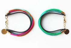 Wrap Bracelet - Gold Charm Bracelet - Mint Green Turquoise Hot Pink Orange - $21