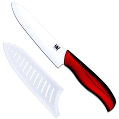6 inch chef ceramic knife quality red handle white blade