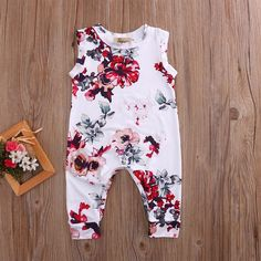 329d3a60df82 Ainsley Floral Jumpsuit. Kid Newborn Summer Clothes Toddler Baby Boy Girl  Sleeveless Floral Cotton Romper ...