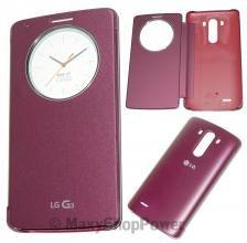 LG CUSTODIA BOOK FLIP COVER QUICK CIRCLE CASE ORIGINALE CCF-345G G3 RED BORDEAUX - SU WWW.MAXYSHOPPOWER.COM