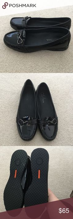 Cole Haan Womens Nike Air Black Patent Loafer Flat Model D32834  Women's Size 9.5B  Black Patent Leather  Nike Air Soles  Removeable Cushion Insoles  Full Leather/Fabric Lining  Heel Height 1 Inch  Excellent Condition - gently used a handful of times. They look almost new. Cole Haan Shoes Flats & Loafers