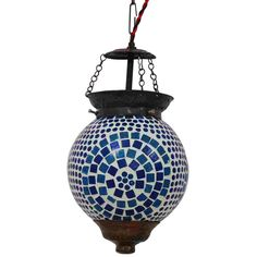Glass Hanging Lamp with Mosaic Art - Blue