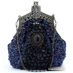 Navy Blue Beaded Silk Victorian Gothic Bridesmaid Evening Purse Bag SKU-1110124