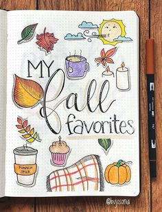 Drawing Doodle Fall doodles by ig Favorite things about autumn drawings Fall Drawings, Doodle Drawings, Bullet Journal Month, Bullet Journal Inspo, Doodle Inspiration, Art Journal Inspiration, Autumn Doodles, Bellet Journal, Doodle Art Journals