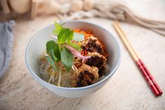 Everyday Gourmet   Vietnamese Meatball Salad Vietnamese Recipes, Thai Recipes, Asian Recipes, Chicken Recipes, Bun Cha, Mince Recipes, Fish Sauce, Baked Beans, Appetisers