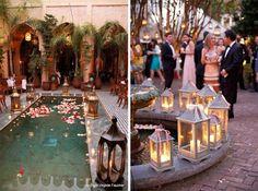 Decoración zonas de agua en bodas 6 farolillos velas
