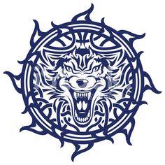 Keltische wolf tattoo lizenzfreie Stock-Vektorgrafik