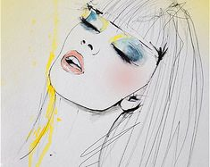 Meanwhile Fashion Illustration Portrait Art Print by Leigh