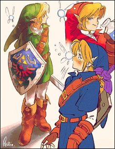 Legend of Zelda Ocarina of Time art > Link in his different tunics > Navi > oot The Legend Of Zelda, Legend Of Zelda Memes, Oot Link, Link Zelda, Navi Zelda, Ocarina Of Times, Link Art, Hyrule Warriors, Twilight Princess