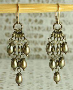 Boho chic chandelier antique brass earring by EstelleLukoffDesigns, $40.00