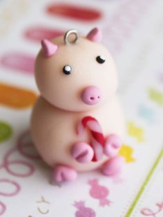 Katie Pig Charm Candy Cane Polymer Clay Pendant by boriville