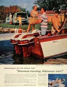 1957 Ad Johnson Sea-Horses Astern Motor Boats Golden Javelin Waukegan Illinois