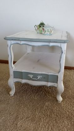 Vintage Shabby Chic Side Table/Night Stand by PoppyFairchild, $85.00