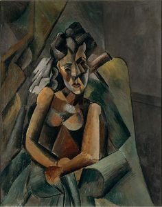 Pablo Picasso, 1909, Femme assise (Sitzende Frau), oil on canvas, 100 x 80 cm, Staatliche Museen zu Berlin, Neue Nationalgalerie - Pablo Picasso - Wikipedia, the free encyclopedia