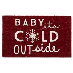 "Baby It's Cold Outside Coir Rug - Red - (1'6""x2'6"") - Evergreen : Target"