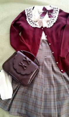 "last-cookie-in-the-jar: ""Going out for Tea :) Dress, Bow & Bag: Innocent World Cardigan: Wonder Rocket Blouse: Modcloth """
