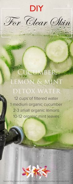5 detox water recipes for maintaining a healthy clear skin! Discover DIY beauty recipes and natural skin care tips at www.purefiji.com/... | Spa Water