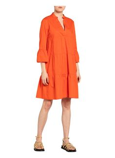 Kleid mit 3/4-Arm von Emily bei Breuninger kaufen Fashion Online, Wrap Dress, Rock, Dresses, Products, Mandarin Collar, Cotton, Curve Dresses, Line