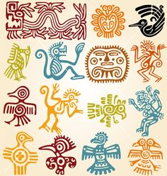 Set - mexican symbols for cute invites
