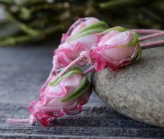 Lampwork Beads, Glass Flower Beads Set 3 pcs