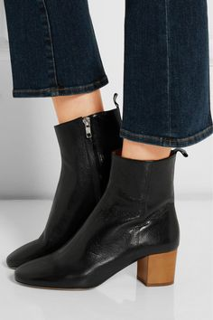 Heel measures approximately 50mm/ 2 inches Black textured-leather Concealed zip fastening along side ImportedLarge to size. See Size & Fit notes.