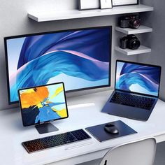 USB-C Products & Computer Accessories Computer Desk Setup, Gaming Setup, Pc Desk, Pc Setup, Home Office Setup, Home Office Design, Office Ideas, Apple Desktop, Pc Table