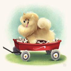 Pomeranian+Dog+in+Red+Wagon+with+Bonesby+flimflammery