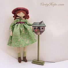 Verity Hope (who is for sale as a doll lit) is delighted with her bew bird stand. More pics in my latest blog post www.verityhope.com  #dollshouseminiatures #minidoll #sewing #miniatura #verityhopesworld #artofmini #dollmaking