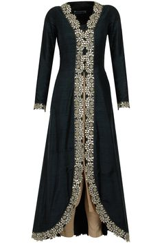 Black and gold gota patti embroidered kurta set available only at Pernia's Pop-Up Shop.