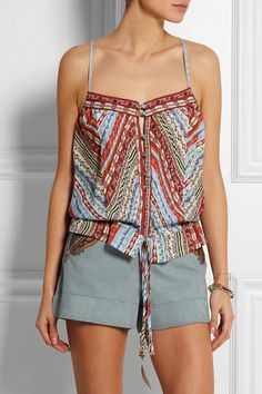 Etro Embroidered silk-crepe camisole NET-A-PORTER.COM