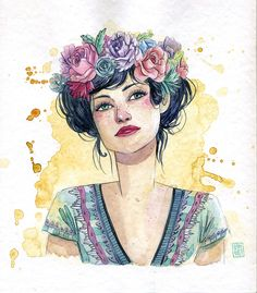 TÉCNICAS: acuarela - ESTHERGILI.COM Art Journal Inspiration, Character Inspiration, Character Design, Girly Drawings, Cute Animal Drawings, People Illustration, Illustration Art, Illustrations, Watercolor Portraits