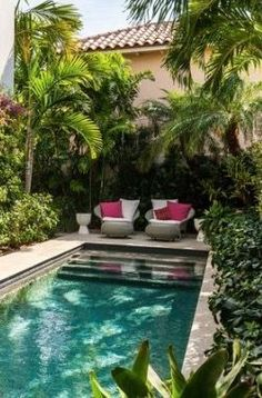 A small rectangular in-ground pool in a narrow backyard. greenery close to the pool and 2 loungers invite to sit down, enjoy a few moments of calm relaxation.
